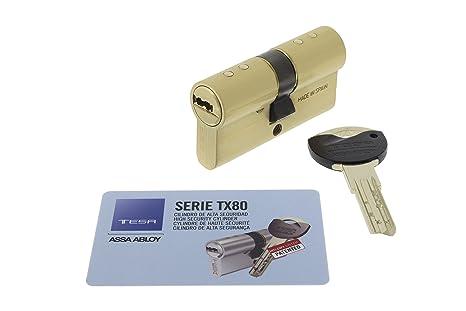 Tesa Assa Abloy, TX853040L, Cilindro TX80 de leva larga, Latonado, 30x40 mm