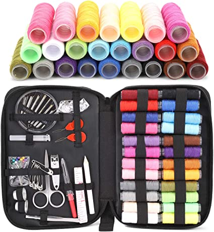 Mini Sewing Kit Supplies Including 18 Color Spools of Thread,Scissors,Thimble,Thread,Tape Measure,Carrying Case and Accessories Black