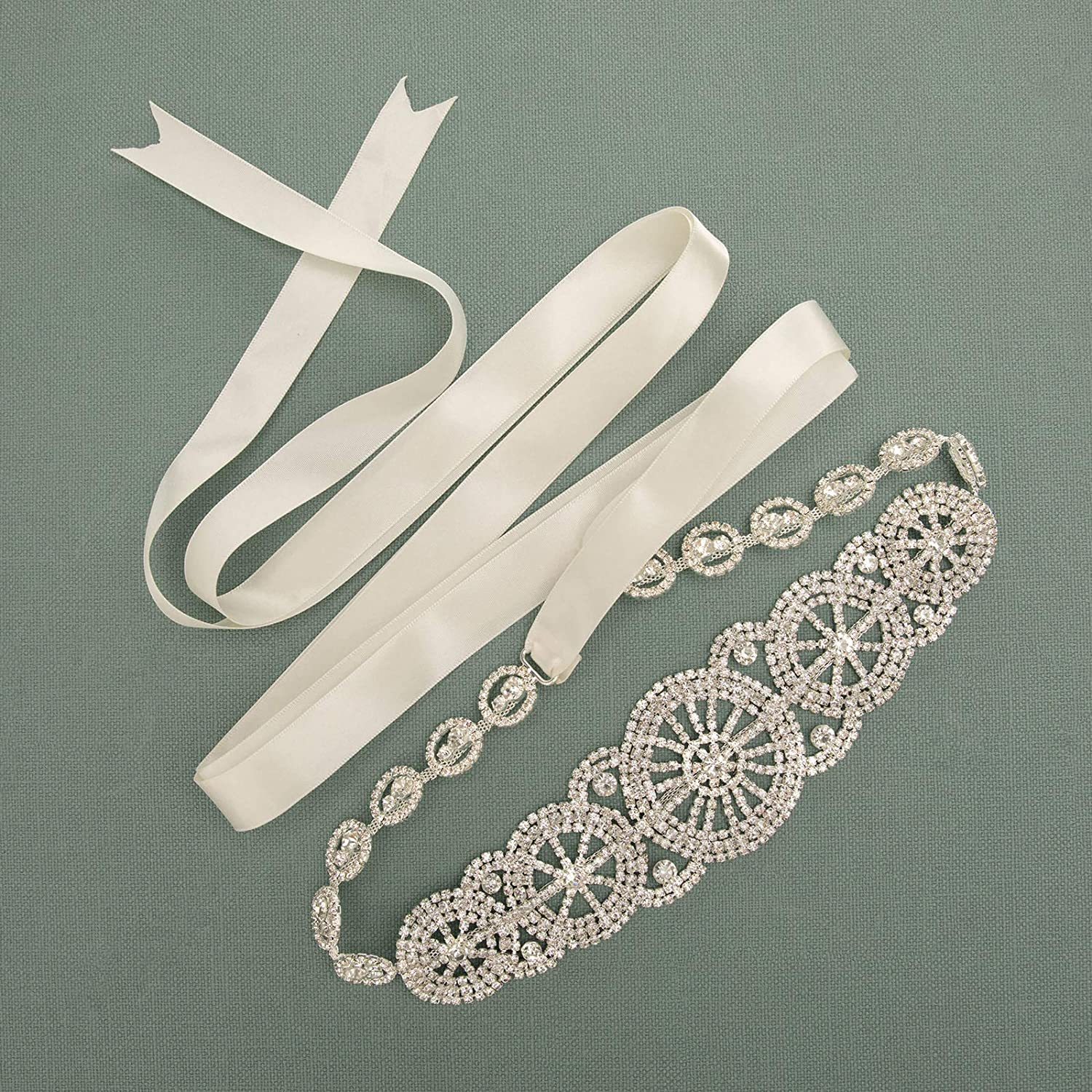 Silver SWEETV Luxury Rhinestone Bridal Belt Wedding Sash Belt Crystal Dress Headband DIY Accessories