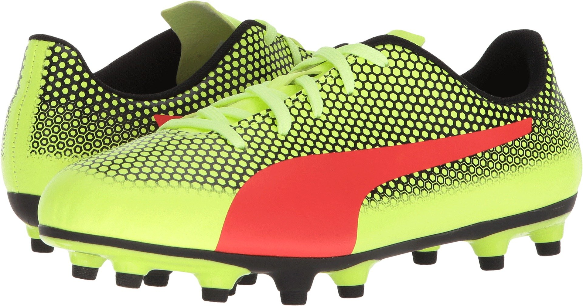 PUMA Unisex-Kids Spirit FG Soccer-Shoes, Fizzy Yellow-Red Blast Black, 3.5 M US Big Kid