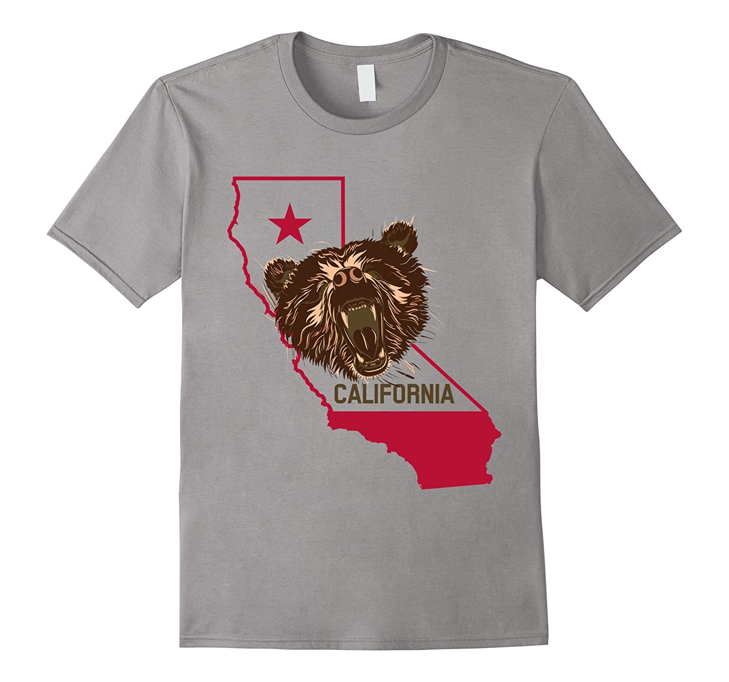 Bear Republic T-Shirt, California Independence Star Flag Tee-CL