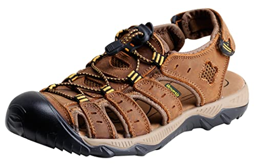 f81b2fa1a717 iLoveSIA Mens Athletic and Outdoor Closed-Toe Leather Sandals Light Brown UK  7 (Lable