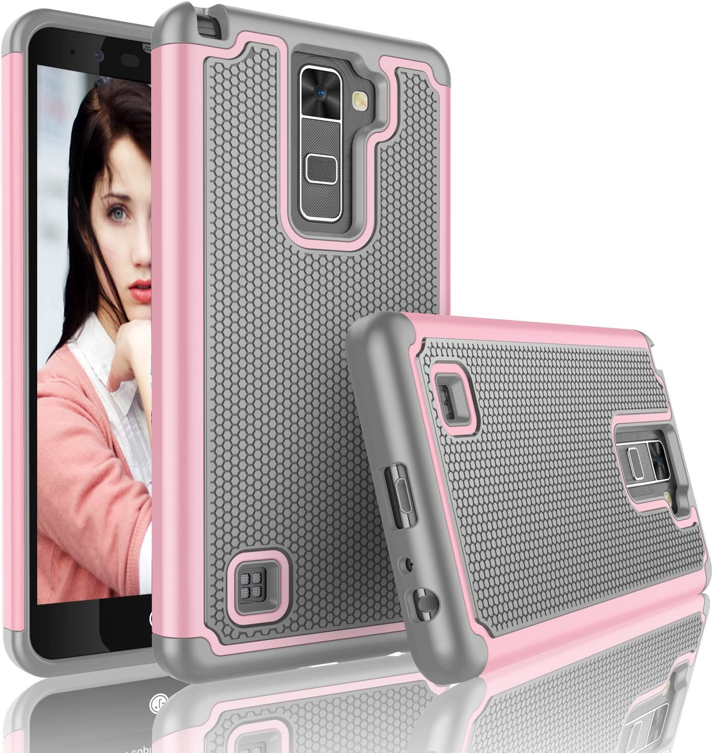 Njjex For LG Stylo 2 Plus Case, LG Stylus 2 Plus Case, [Nveins] Shock Absorbing Hybrid Dual Layer Rubber Plastic Impact Armor Defender Bumper Rugged Hard Case Cover Shell For LG G Stylo 2 Plus [Pink]