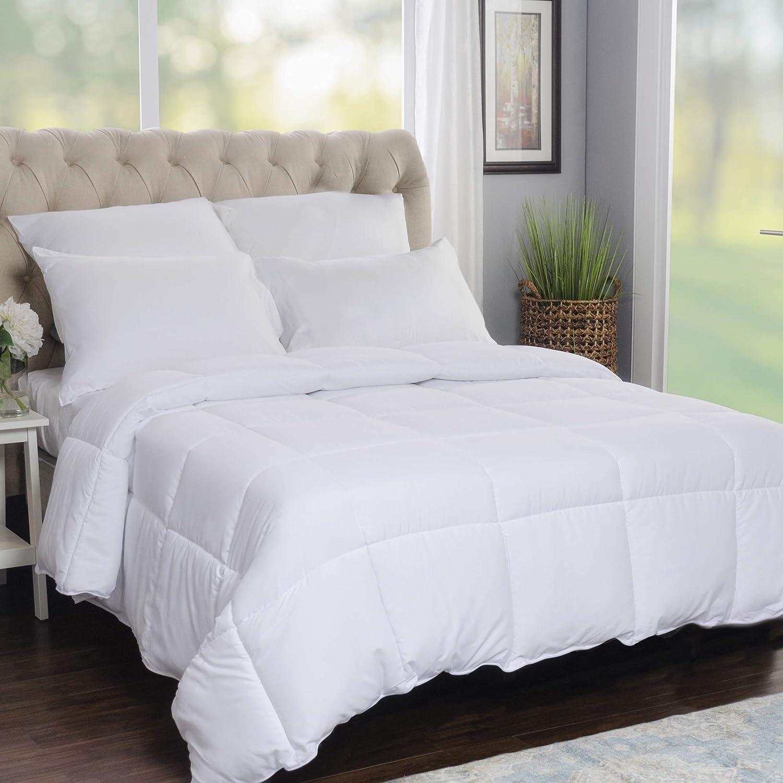 SUPERIOR Solid White Down Alternative Comforter, Duvet Insert, Medium Weight for All Season, Fluffy, Warm, Soft & Hypoallergenic - Full/Queen Bed: Home & Kitchen