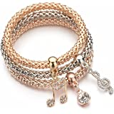 YouBella Crystal Bracelet Bangle Jewellery for Women(Silver and Rose Gold)