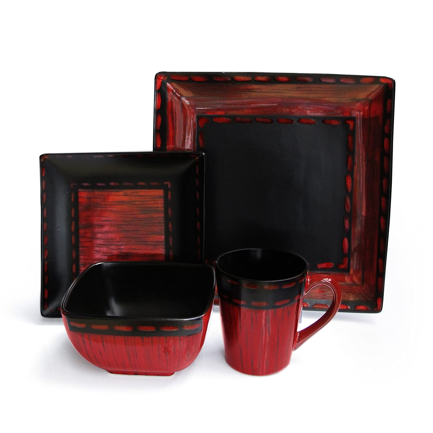 Amazon.com | American Atelier Livingston 16-Piece Dinnerware Set Red Dinnerware Sets  sc 1 st  Amazon.com & Amazon.com | American Atelier Livingston 16-Piece Dinnerware Set ...
