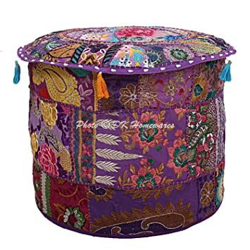 Magnificent Dk Homewares Indian Pouf Ottoman Cover Vintage Patchwork Purple Round Foot Stool Decorative Tuffet Cotton Embroidered Pouf Chair Seat Floral Uwap Interior Chair Design Uwaporg