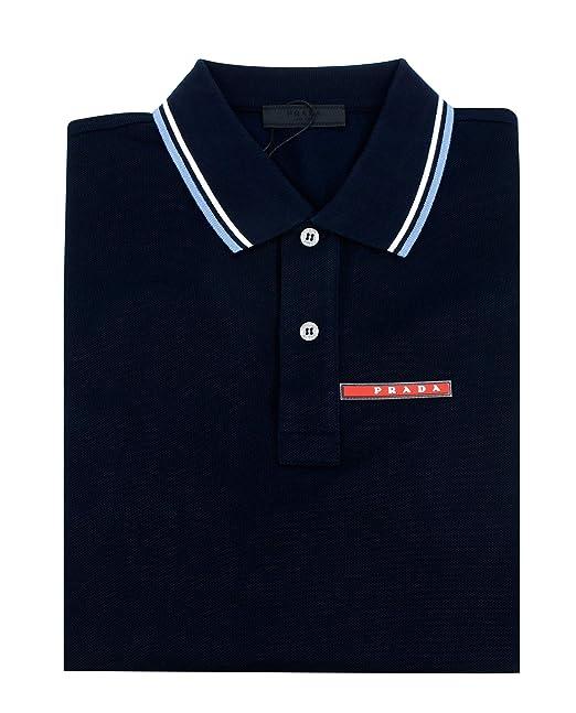 d6a6e1bf Prada Men's Cotton Piqué Short Sleeve Slim Fit Polo Shirt, Navy SJJ887