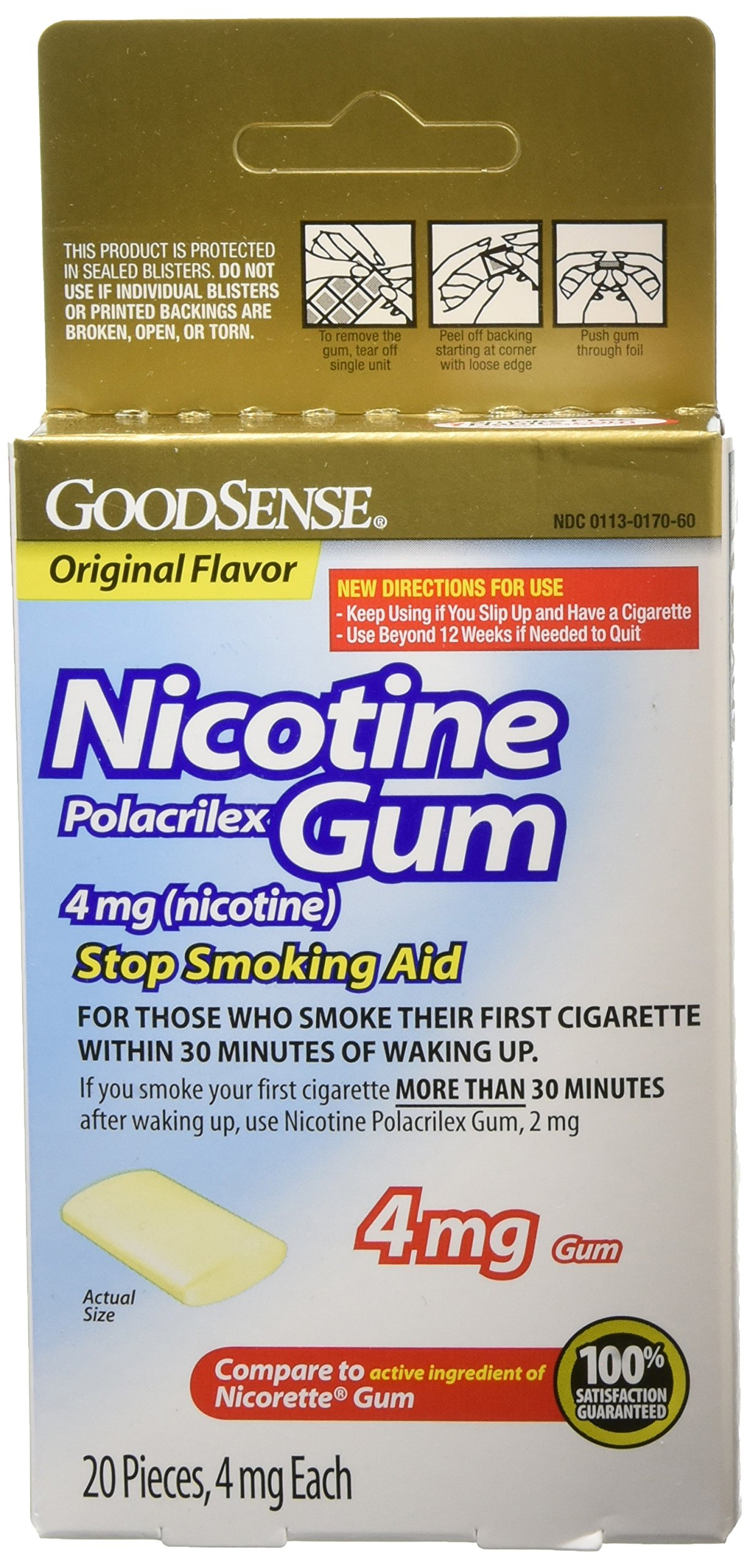 Good Sense Nicotine Polacrilex Gum, 20 Count (Pack of 24) by Good Sense