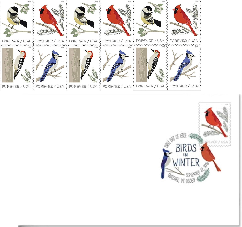 4 Booklets 20 Birds in Winter 2018 Forever Stamps USPS