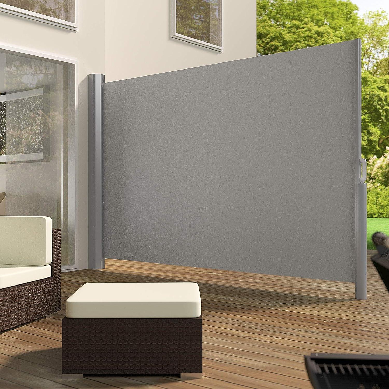 TecTake Toldo Lateral de Aluminio Separador retr/áctil terraza protecci/ón De Vivienda y de Base Postes Completo de Aluminio Varias tama/ños Negro   160x300cm   no. 401525