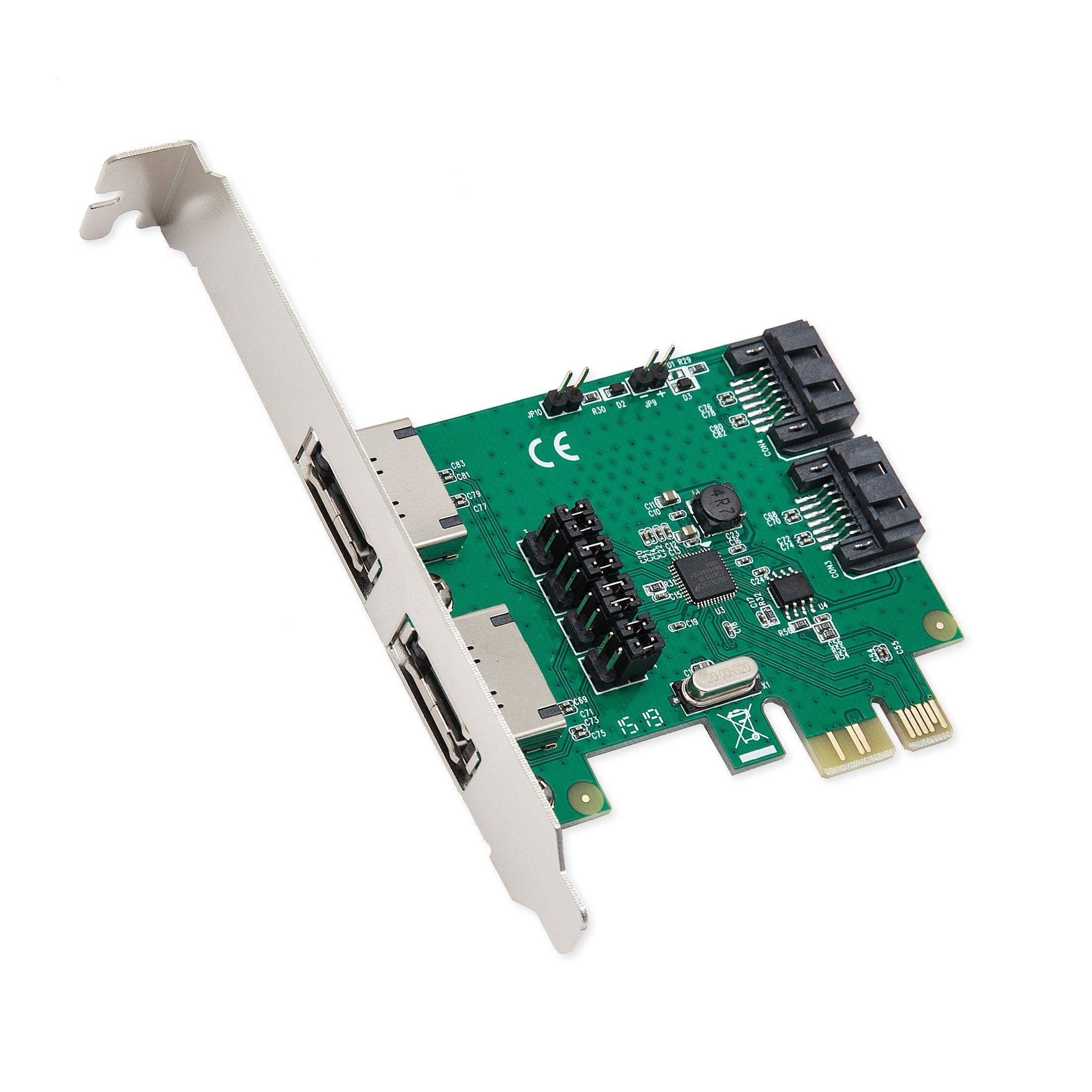 Syba SD-PEX40100 2 Port SATA III or 2 Port eSATA IIPCIe 2.0 x1 Controller Card
