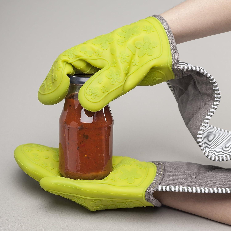 algod/ón Crema Zeal Celo Silicona Resistente Guantes de Doble para Horno Guantes 26 x 19 x 26 cm Color Gris Oscuro
