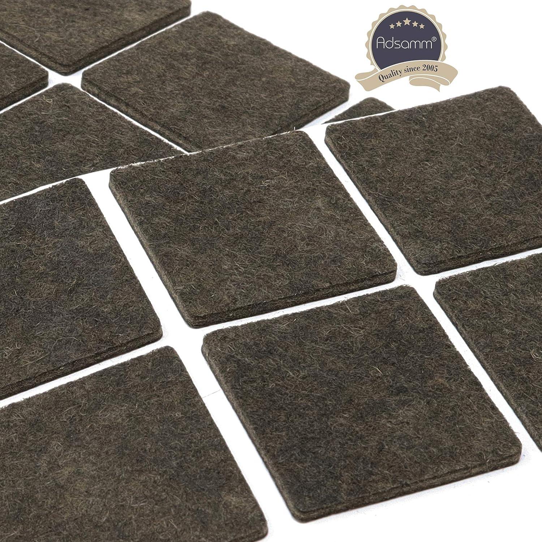 marron carr/é 12 x patins en feutre Adsamm/® 40x40 mm 3,5 mm hauteur |/patins glisseurs auto-adh/ésifs de qualit/é optimale