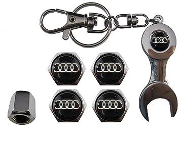 Valvulas de acero inoxidable para coche + llavero Audi negro aut011-34