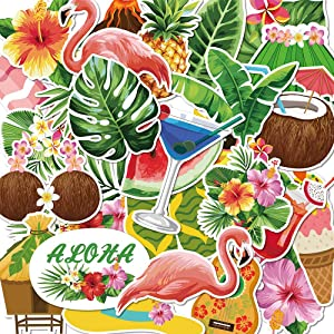 Hawaiian Stickers-50Pcs Waterproof Summer,Beach,Tropical,Hawaii Stickers for Girls Teens, Suitable for Hydro Flask, Laptop,Scrapbook,Water Bottle