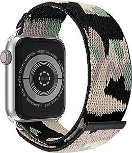 JIELIELE Elastic Apple Watch Bands 38mm 40mm 42mm 44mm for Women, Nylon Braided Solo Loop Apple Watch Bands, Iwatch Bands Compatible with Apple Watch Series SE 6 5 4 3 2 1 (M-38/40 CamoGreen)