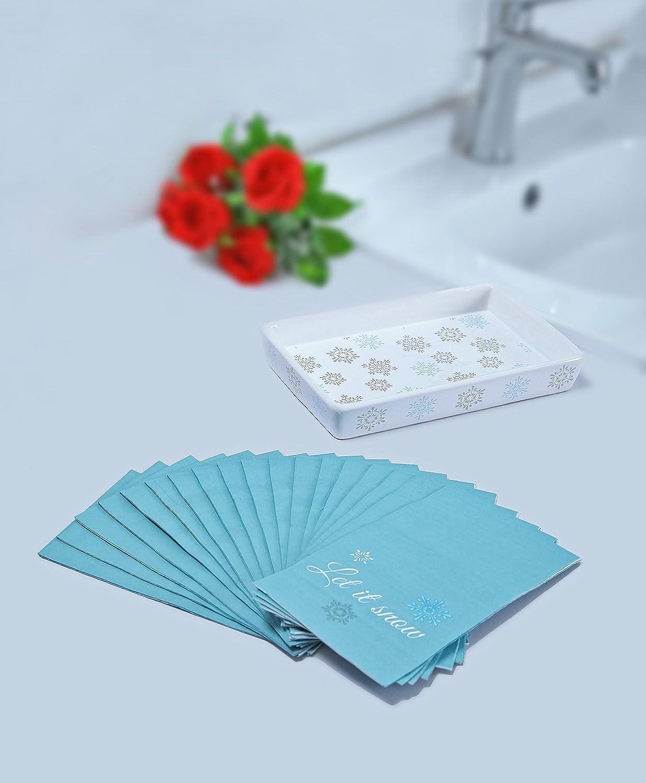 InDecor 18 Piece Snowflake Let It Snow Ceramic Napkin Hand Towel Tray Gift Set