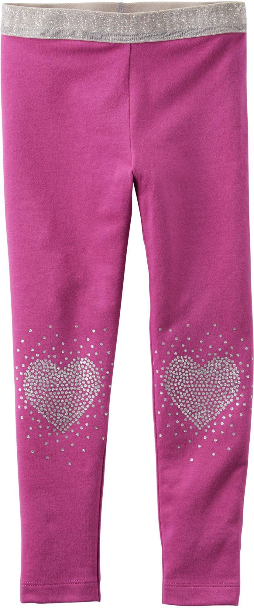 Carter's Little Girls' Stretch Glitter Heart Leggings (2t, magenta)