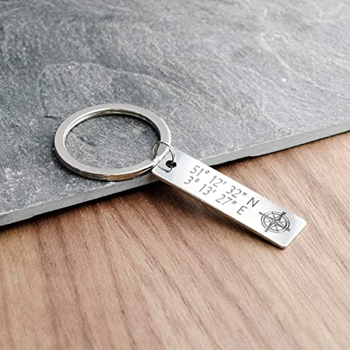custom coordinates leather keychain for mens gps coordinates key chain for him engraved coordinates keychain personalized gift travel gift