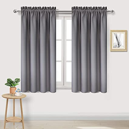 DWCN Blackout Curtains Thermal Insulated Room Darkening Bedroom Curtains 38  x 54 inch Long, Grey Short Curtain Panels, Set of 2