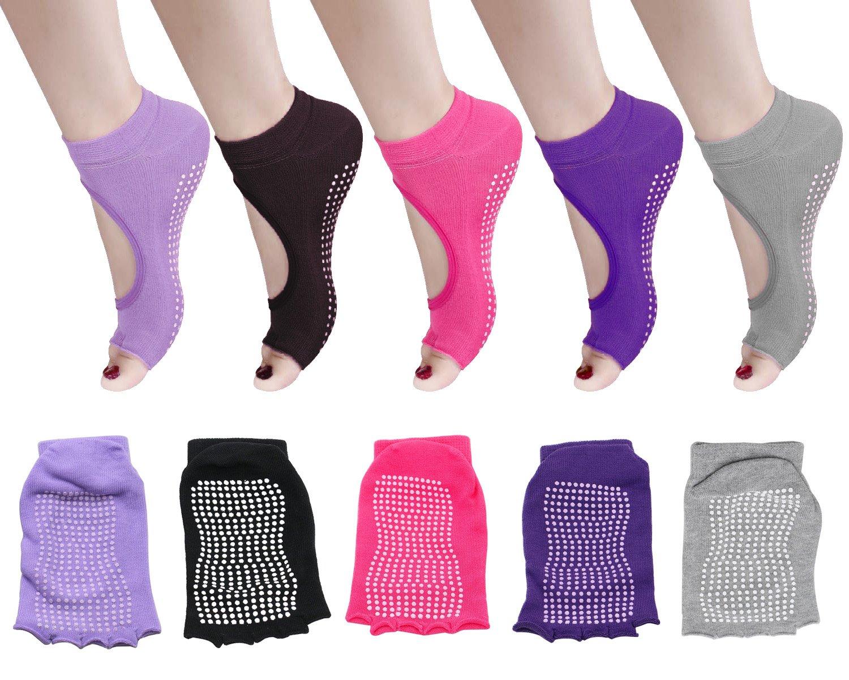 5 Pack Yoga Socks Non Slip Barre Pilates Sock with Grips for Women