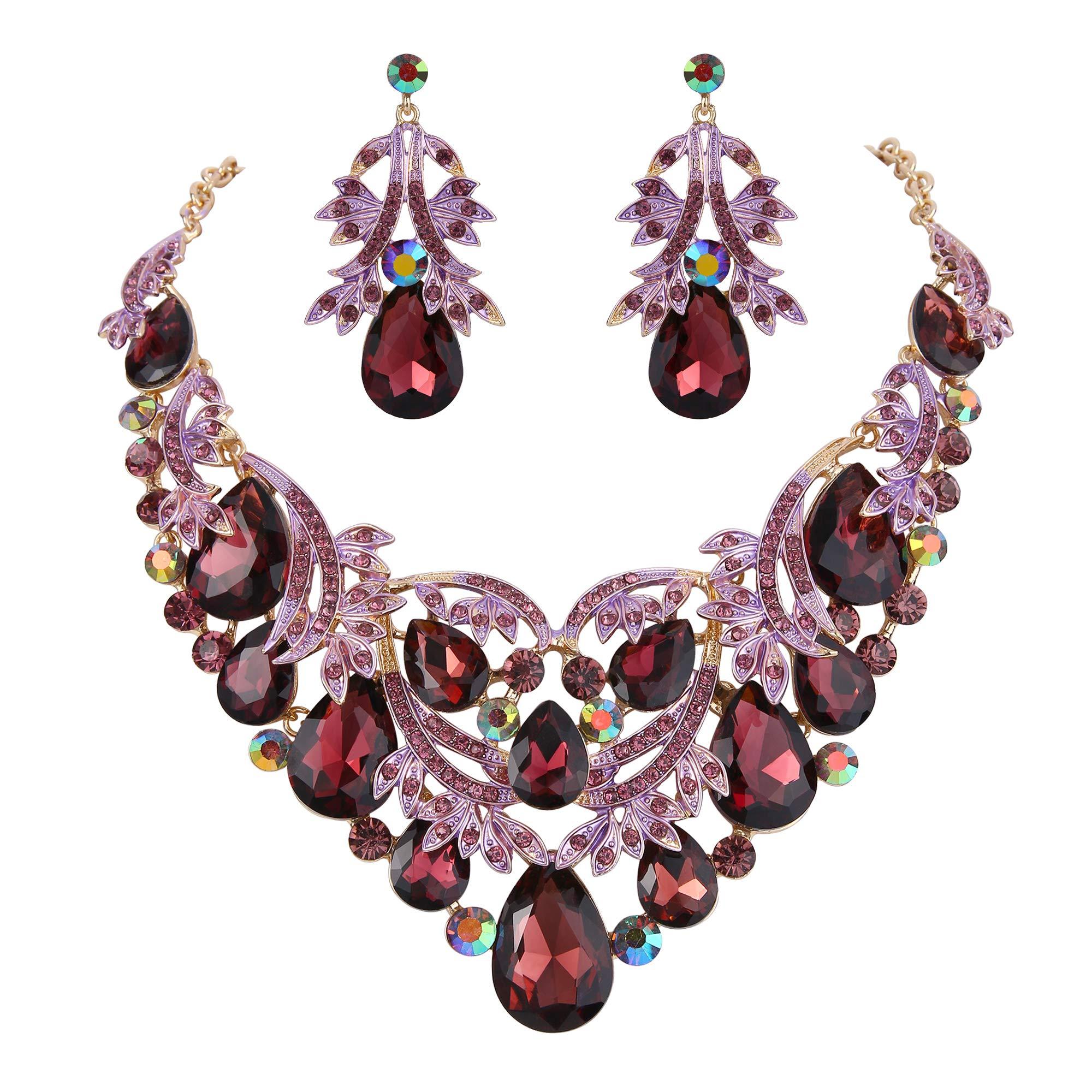 BriLove Gold-Toned Statement Necklace Dangle Earrings Jewelry Set for Women Bohemian Boho Crystal Teardrop Filigree Leaf Hollow Jewelry Set Deep Amethyst Color