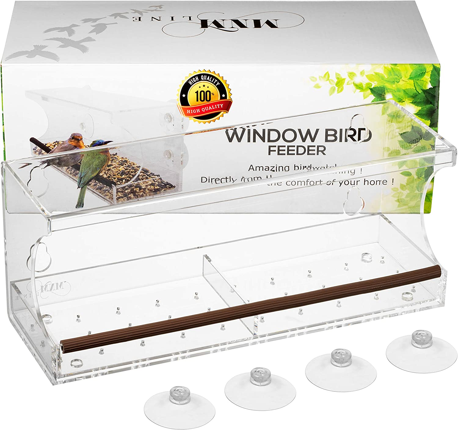 Window Bird Feeder for Outside Birds View - Window Bird Feeders with Strong Suction Cups - Bird Feeder Window - Window Mount Bird Feeder - Acrylic Bird House