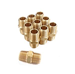 Pipe Fitting and Air Hose Fitings, Hex Nipple Coupling Set - 1/4-Inch NPT x 1/4-Inch NPT,Solid Brass, Male Pipe- 10 Piece