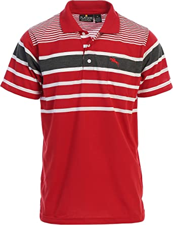 Platoon Mens Regular Fit Striped Polo Shirt with Pocket
