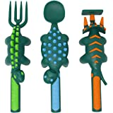 Constructive Eating Dinosaur Set of 3 Utensils for Toddlers, Infants, Babies and Kids - Flatware Set is Made in The USA Using