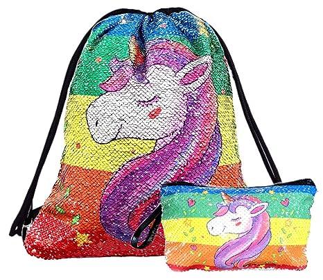 6fd2861f2611 Unicorn Sequin Drawstring Backpack Bling Beach Hiking Bags (Unicorn Rainbow  with Makeup Bag)