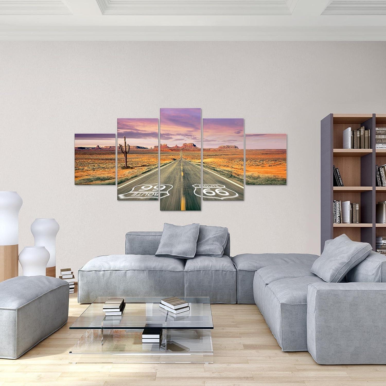 Photo Grand Canyon Route 66 D/écoration Murale 200 x 100 cm Toison 100/% MADE IN GERMANY pr/êt /à accrocher 611351a Toile Taille XXL Salon Appartement D/écoration Photos dart Orange 5 Parties