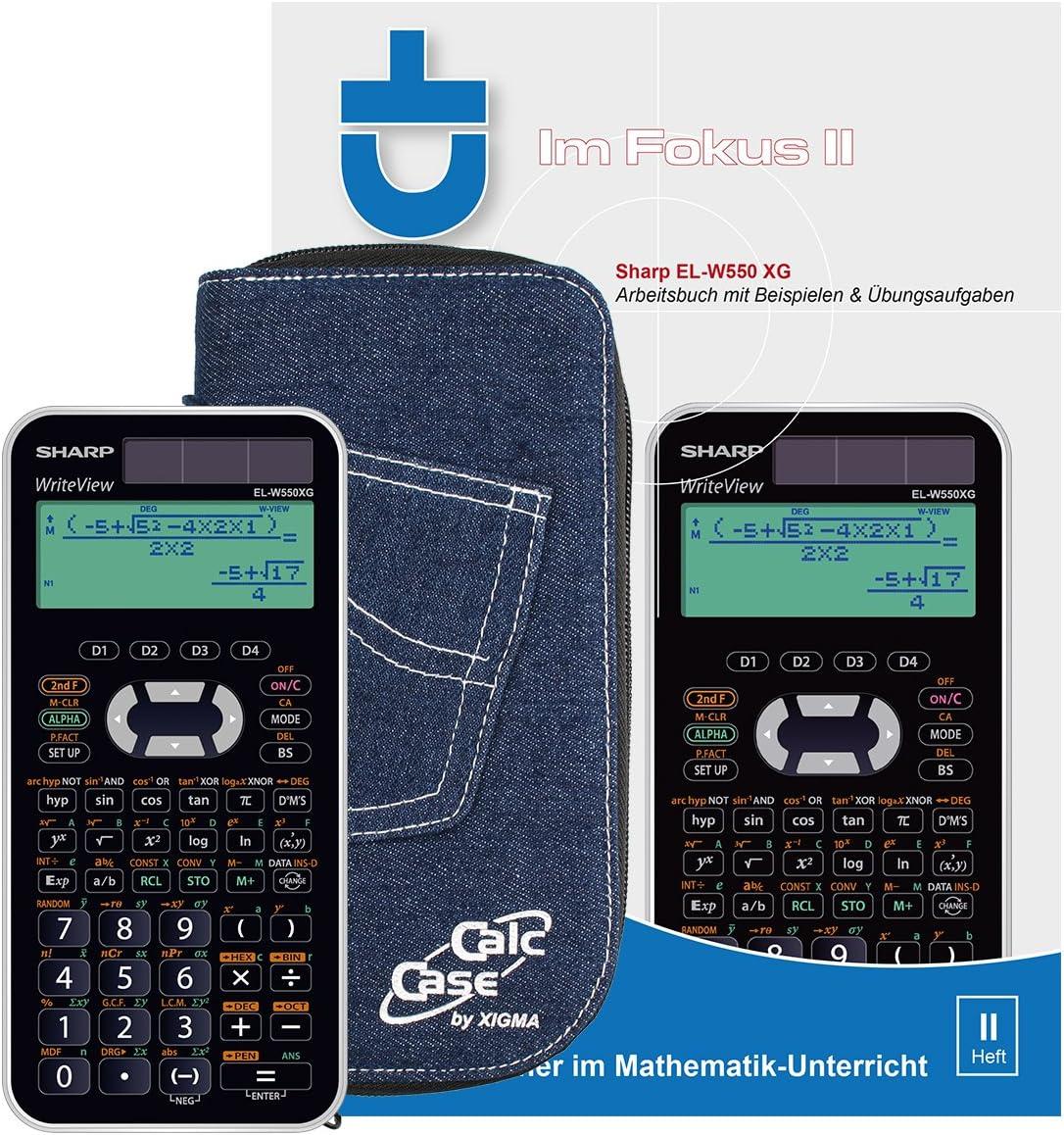CalcCase Schutztasche Jeans Dunkel Sharp EL-W550 XG