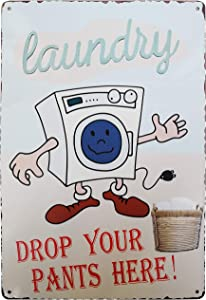 PXIYOU Laundry Drop Your Pants Here Vintage Metal Tin Sign Laundry Room Decor Bathroom Wash Room Signs Country Home Decor 8X12Inch