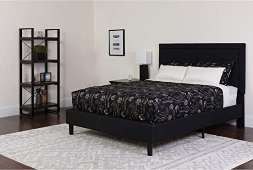 Flash Furniture Roxbury Queen Size Tufted Upholstered Platform Bed in Black Fabric, SL-BK5-Q-BK-GG