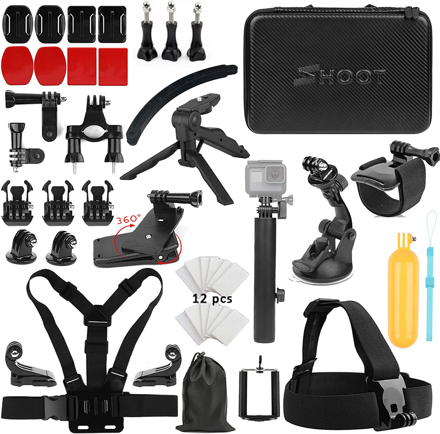 SHOOT 21in1 Must Have Accessories Kit for GoPro Hero 8 Hero 7 Black Silver