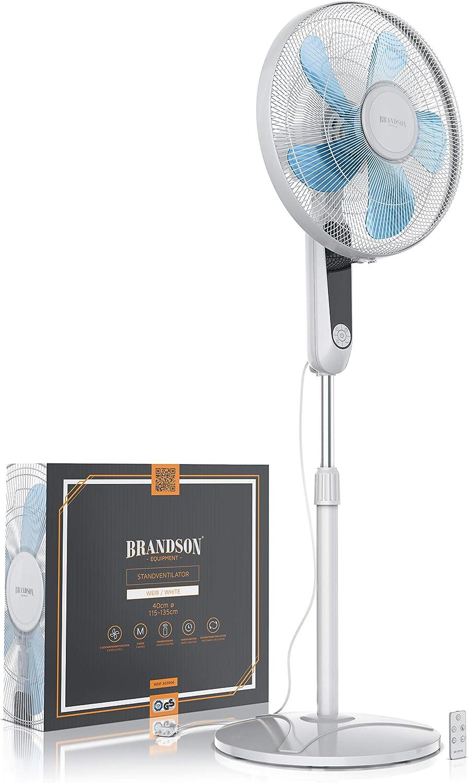 Ventilador de pie con Mando a Distancia y Pantalla Altura Ajustable Brandson 60 vatios inclinaci/ón 35 Grados 3 velocidades oscilaci/ón 80 Grados