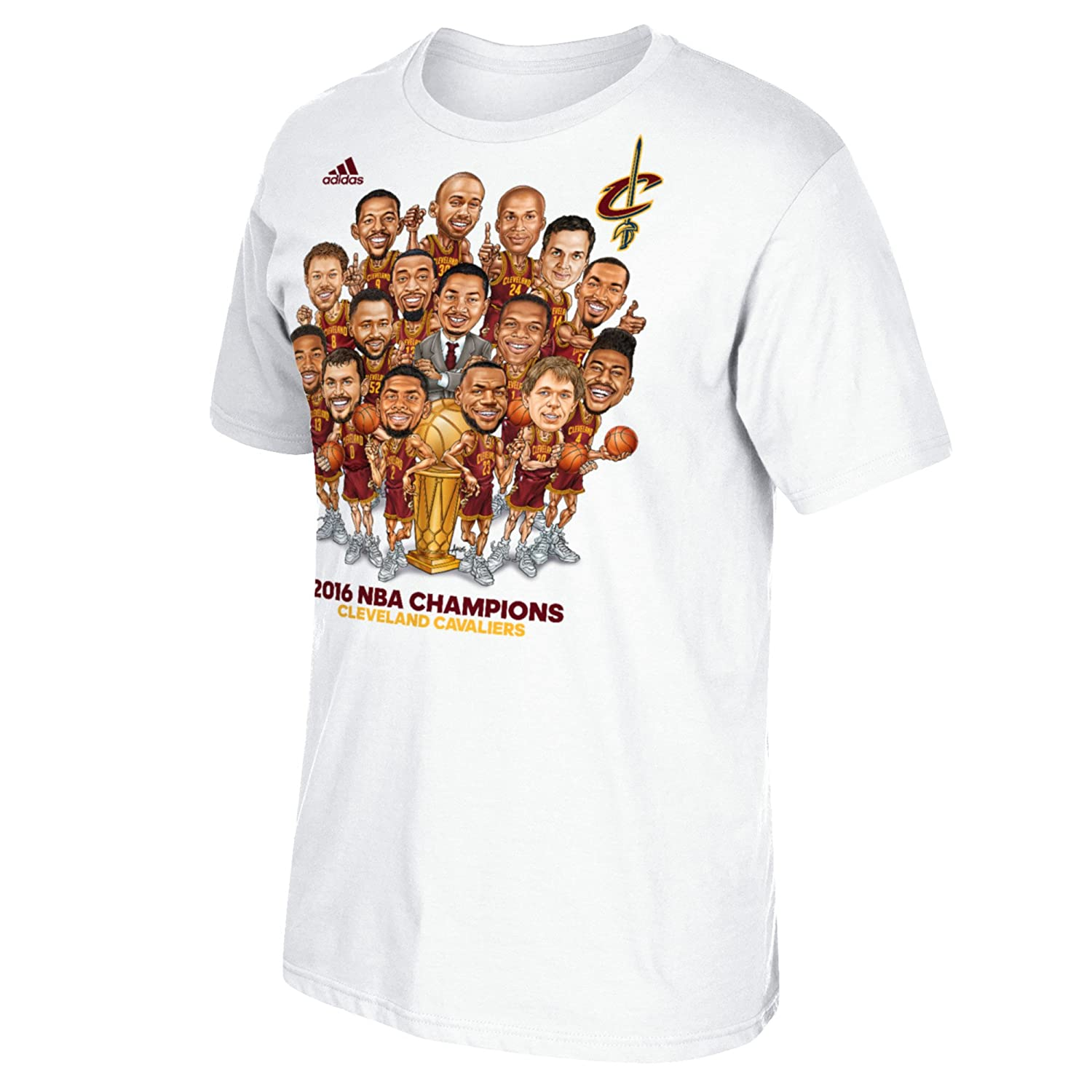 70c52b8098c8 Amazon.com   adidas Cleveland Cavaliers White 2016 NBA Finals Champions  Cartoon Caricature Champs T-shirt 4XL   Sports   Outdoors