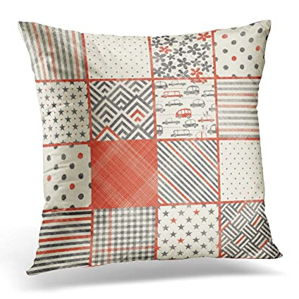 Amazon.com: Emvency Throw Pillow Covers Red Vintage Abstract ...