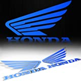 "(Pack of 2) 4.5"" x 3.75"" Fuel Gas Tank Fender Side Decal Reflective Wing Logo Vinyl Sticker for Honda Blue"