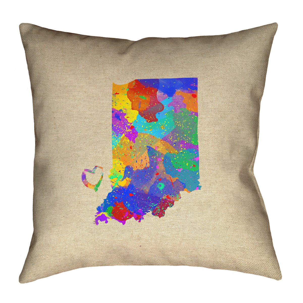 ArtVerse Katelyn Smith 26 x 26 Faux Suede Double Sided Print with Concealed Zipper /& Insert Indiana Love Watercolor Pillow