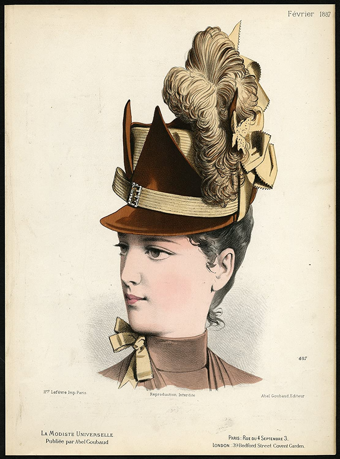 Amazon.com  Antique Fashion Print-497-MILLINERY-19TH CENTURY-HAT-HEAD  DRESS-Gonin-1887  Posters   Prints 41fe2b414cd