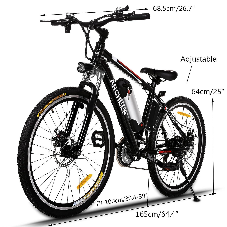 Ancheer - Bicicleta de montaña eléctrica - E-Bike/Citybike con batería recargable y extraíble de litio de 36 V - Cambio Shimano de 21 velocidades y dos ...