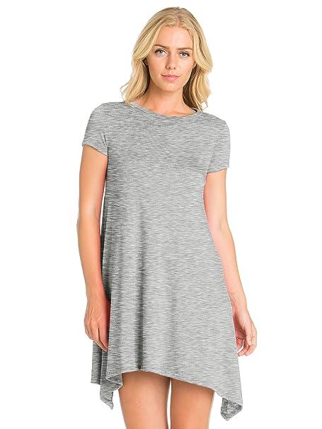3dc7ed504350e FACA Womens Shark Bite Loose Fit Tunic T-shirt Dress (Small, Heather Grey