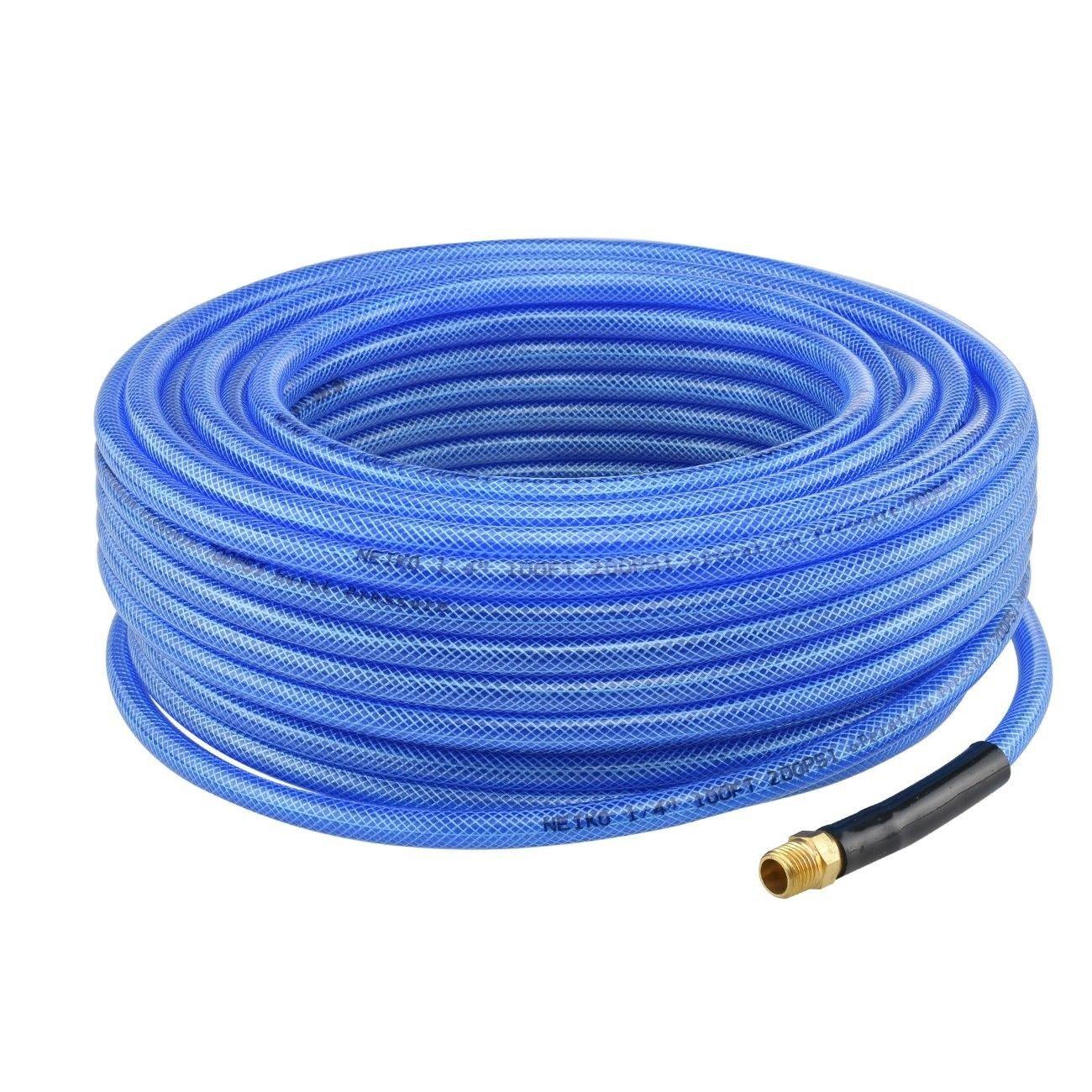 1/4'' X 100 FT BRAIDED BLUE IRON FLEX FLEXIBLE AIR HOSE