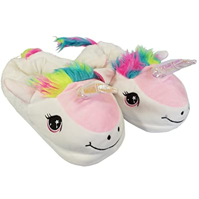 Unicorn Slippers for Girls Teens and Women - Plush Cozy Anti Slip Indoor Home Shoes Animal Slippers: Clothing