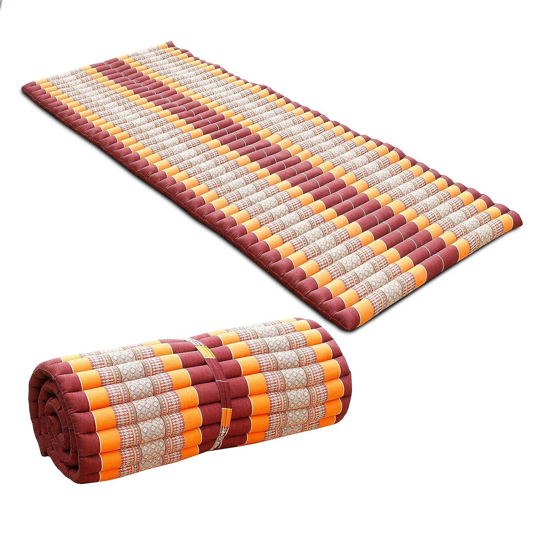 Oriental Galerie Liegematte Rollmatte Yogamatte Rollmatratze Thaimatte ca. 200x100 cm Matte Liege Kapokmatte Baumwolle Kapok Weinrot Orange KRG4
