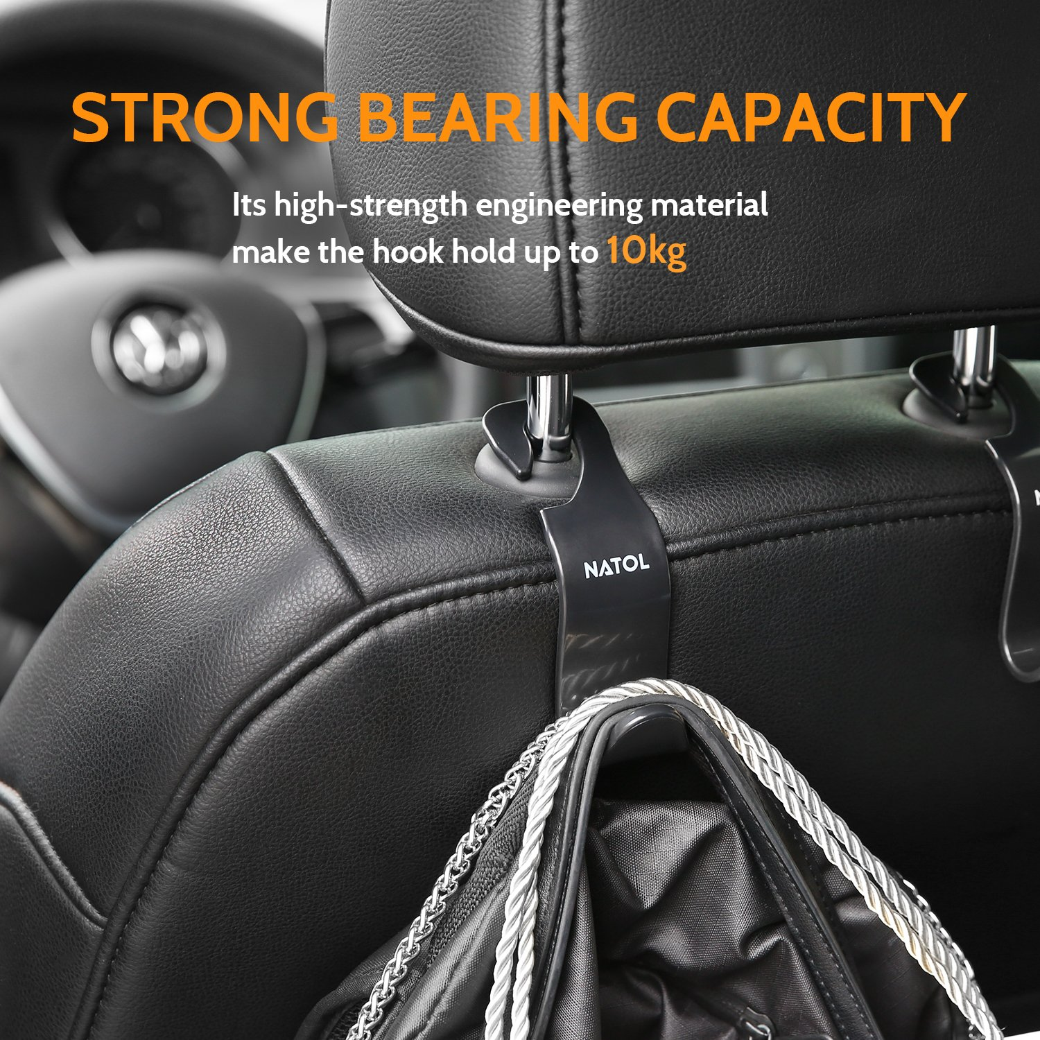 Car Headrest Hooks, NATOL Car Seat Storage Organiser Hanger for Purse Handbag Coat and Grocery Bag, 4 Packs