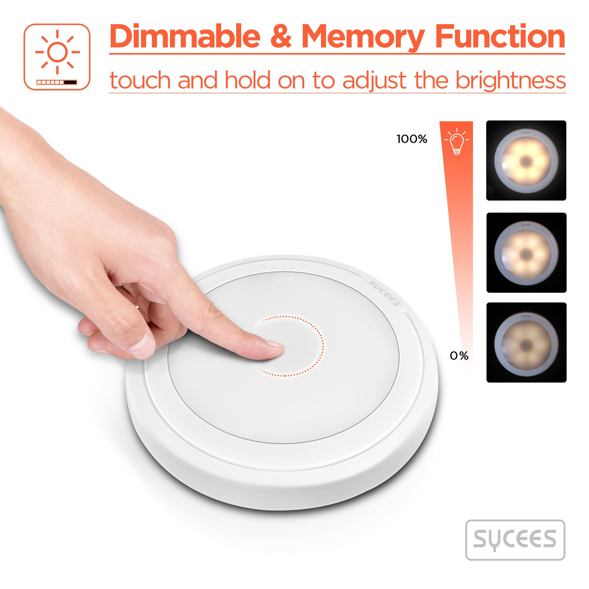 Sycees Touch Activated LED Puck Lights, Dimmable, Battery Operated, Stick on Anywhere, Warm White (2700K), 3-Pack by SYCEES (Image #3)